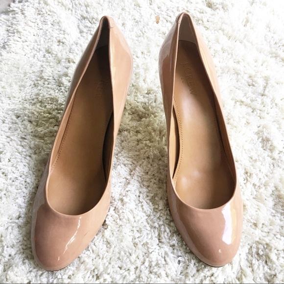 65e2d9662 J. Crew Factory Shoes   J Crew Paulina Patent Nude Heels   Poshmark